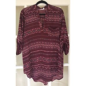 Urban Outfitters LUSH Burgundy Printed Tunic